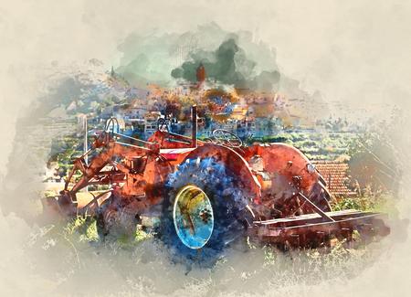 デジタル水彩画の古い村の背景にトラクター。スペインの Polop デ ラ マリーナの村 写真素材