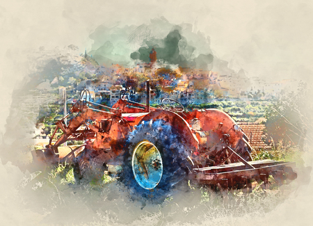 Digital watercolor painting of old tractor against village background. Polop de la Marina village in Spain