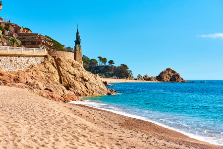 minerva: Statue of Minerva on the embankment of Tossa de Mar, Costa Brava, Catalonia, Spain Stock Photo