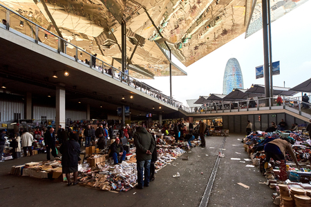 secondhand: Barcelona, Spain - April 4, 2016: Inside of Mercat dels Encants. It is a Barcelona�s largest and best known flea market. One of the oldest flea markets in Europe and Spain