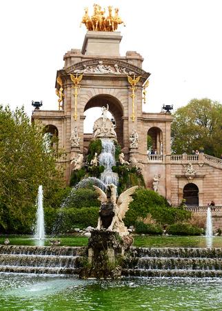 Barcelona, Spain - April 4, 2016: The Cascada fountain, built on 1888. Fountain located in the Ciutadella Park, one of the finest parks in Barcelona. Spain