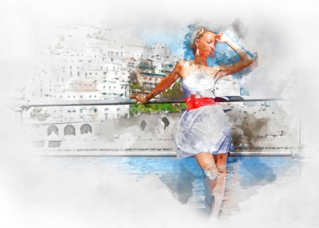 mediterranean: Digital watercolor painting of a beautiful young woman  in Atrani town in Amalfi coast. Italy