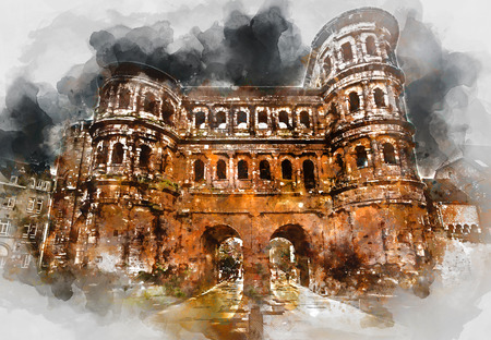 unesco: Digital watercolor painting of The Porta Nigra (Black Gate) in Trier city, Germany. It is a famous large Roman city gate. Front view. UNESCO World Heritage Site