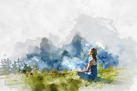nirvana: Young woman practice yoga. Digital watercolor painting