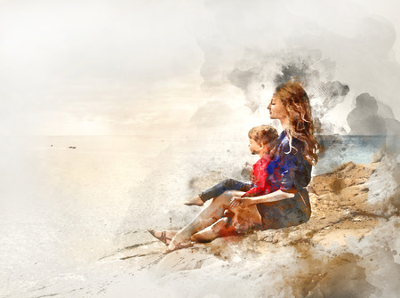 seaside: Digital watercolor painting of a mother and daughter sitting on a rock near the sea
