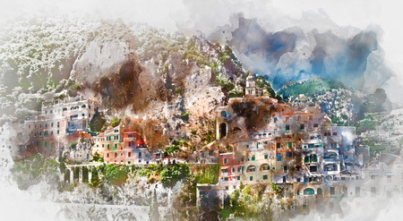 mediterranean homes: Digital watercolor painting of Amalfi. Amalfi is a charming, peaceful resort town on the scenic Amalfi Coast of Italy.
