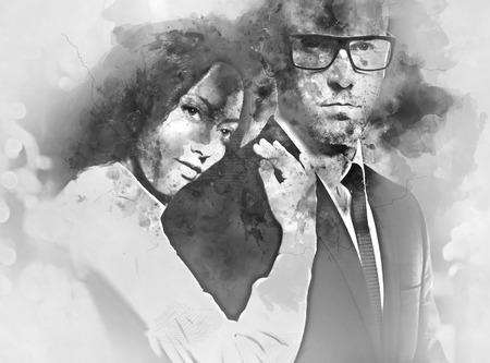 woman in love: Couple in love. Beautiful brunette and handsome man hugging. Black and white. Digital watercolor painting Stock Photo