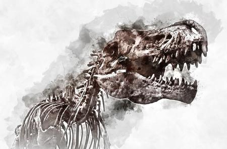 Digital watercolor painting of a Tyrannosaurus rex skeleton