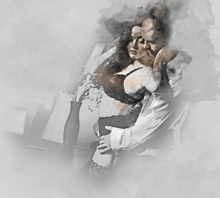sex man: Digital watercolor painting of a couple. Sensual brunette in black lingerie and handsome man. Office romance concept