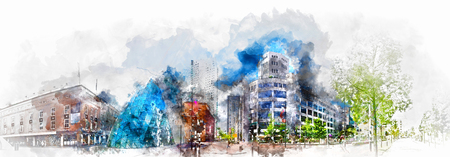eindhoven: Digital watercolor painting of a Eindhoven city center. Netherlands. Western Europe Stock Photo