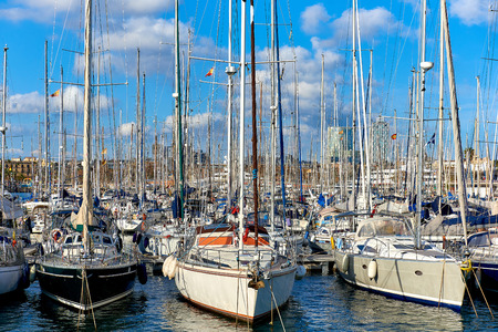 shrouds: Sailboats at Port Vell in Barcelona city. Spain