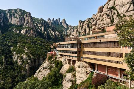 monastery nature: Spectacular view of Montserrat mountains and The Benedictine abbey of Santa Maria de Montserrat. Catalonia, Spain