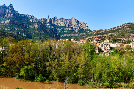 Spectacular view of Montserrat mountains and Monistrol de Montserrat town. Province of Barcelona, Catalonia. Spain