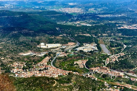 Aerial view of Monistrol de Montserrat town and surrounding countryside. Province of Barcelona, Catalonia. Spain