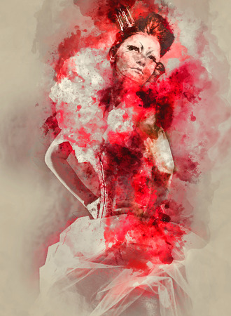 red dress: Digital watercolor painting of a Red Queen