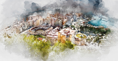 Panoramic view of Malaga bullring and harbor, Spain. Digital watercolor painting