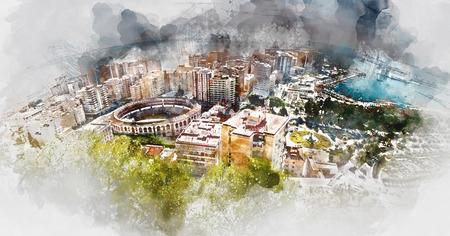 corrida de toros: Vista panorámica de la plaza de toros de Málaga y el puerto, España. pintura digital de la acuarela Foto de archivo