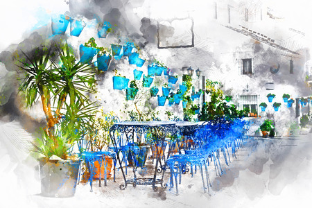 Digital watercolor painting of Mijas street. Charming white village in Andalusia, Costa del Sol. Southern Spain
