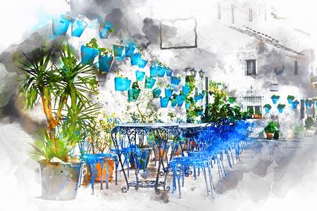 Digitale waterverf schilderen van Mijas straat. Charmante witte dorp in Andalusië, Costa del Sol. Zuid-Spanje