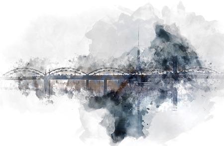 generated: Digital watercolor painting of a Railway bridge over the Daugava river. Riga, Latvia