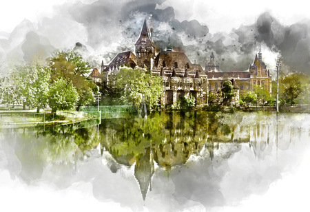 Digital watercolor painting of a Vajdahunyad castle, view from lakeside. Budapest, Hungary Stock Photo