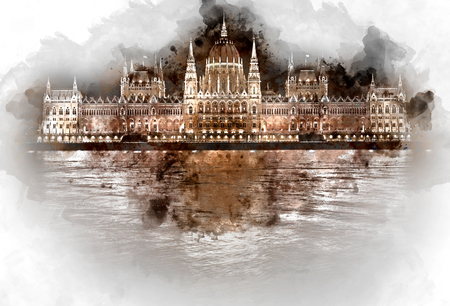 parliament: Digital watercolor painting of Hungarian Parliament Building at night. Budapest, Hungary Stock Photo