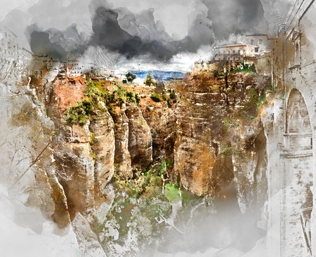 spanish landscapes: Digital watercolor painting of a Ronda canyon. Province of Malaga, Andalusia, Spain