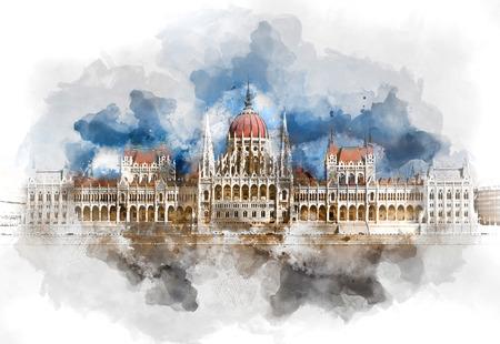 헝가리 의회 건물의 디지털 수채화 그림입니다. 부다페스트, 헝가리 스톡 콘텐츠