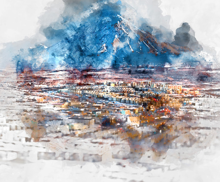 russian: Petropavlovsk-Kamchatsky cityscape and Koryaksky volcano. Far East, Russia. Digital watercolor painting
