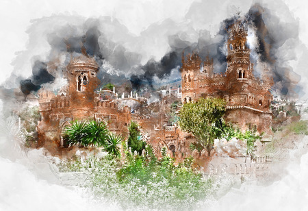 christopher: Digital watercolor painting of a Colomares Castle. Castle dedicated to the explorer and navigator Christopher Columbus. Benalmadena town. Province of Malaga. Andalusia. Spain