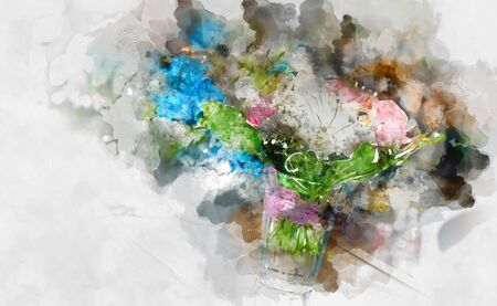 bunch of flowers: Digital watercolor painting of a beautiful flowers