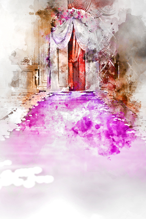 aisle: Digital watercolor painting of a wedding aisle
