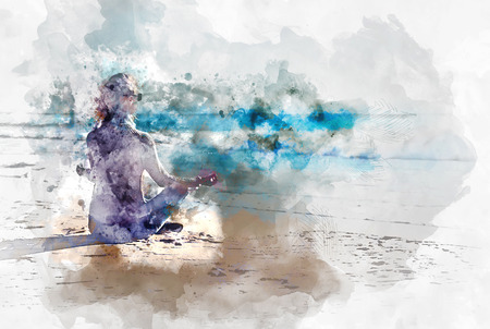 nirvana: Young woman meditating on the beach, digital watercolor painting Stock Photo