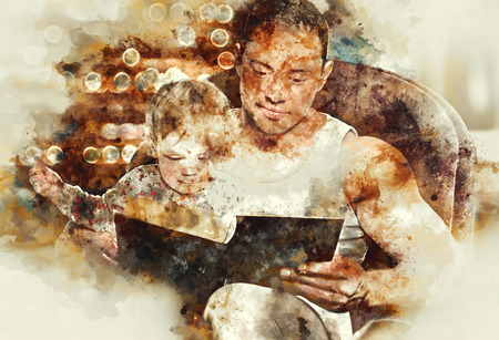 two generation family: Father reading book to daughter. Digital watercolor painting.
