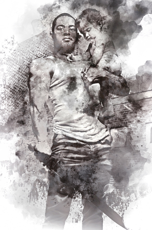 two generation family: Father hugging a baby and holding a sword. Conceptual digital watercolor painting, parental protection. Black and white.