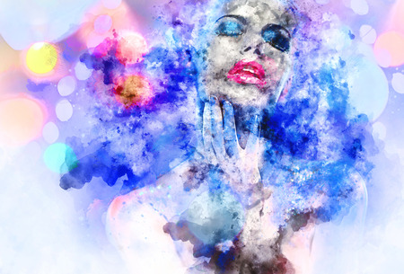 nude: Beautiful woman with a bright make-up. Digital watercolor painting.