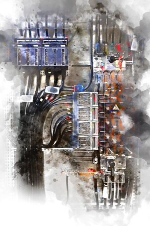 breaker: Electrical panel with fuses and contactors. Digital watercolor painting. Stock Photo