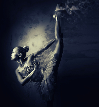 combined effort: Ballerina. Black and white image with a digital effects