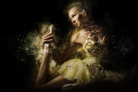 combined effort: Ballerina in yellow tutu. Digital art