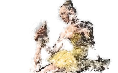 choreography: Ballerina. Digital charcoal drawing