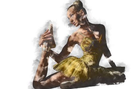 combined effort: Lovely ballerina in yellow tutu. Digital art