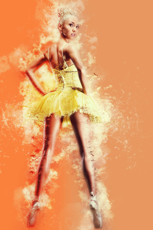combined effort: Beautiful ballerina in yellow tutu on point. Digital art