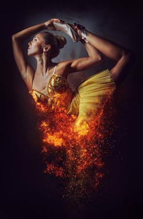 Ballerina in a fire. Digital art Stock Photo