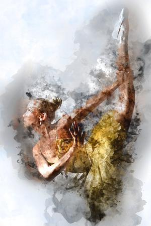 ragazze che ballano: Bella ballerina. pittura ad acquerello digitale. Archivio Fotografico