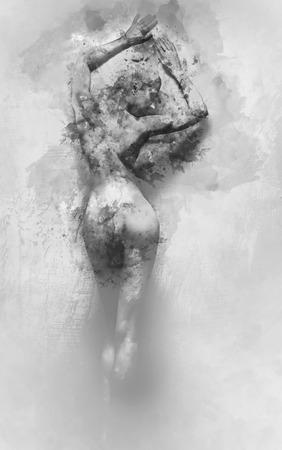 sexy nackte frau: Digital-Aquarellmalerei einer nackten Frau