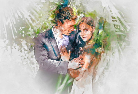 illustration: Digital watercolor painting of a beautiful couple in love Stock Photo