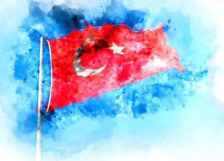 Flag of Turkey. Digital watercolor painting Stock Photo