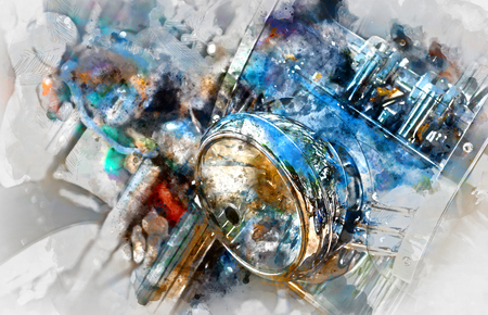 Motorcycle headlight. Digital watercolor painting Stock Photo