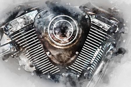 harley: Motorcycle engine close-up. Digital watercolor painting.