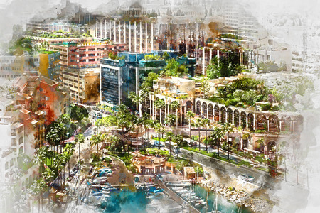 yacht: Digital watercolor painting of Fontvieille. Principality of Monaco